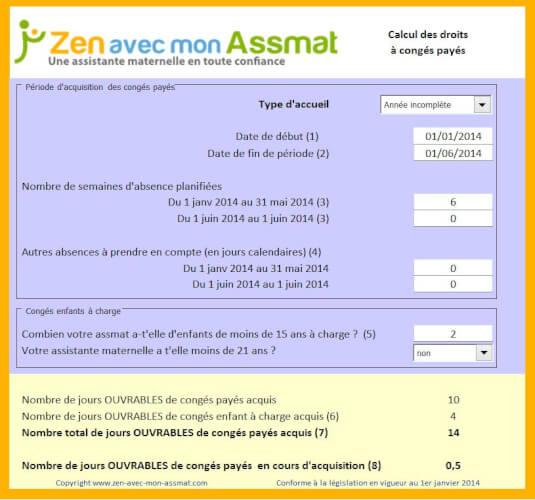 Calculateur De Conges Assistante Maternelle Zen Avec Mon Assmat